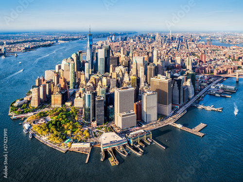 Poster New York Aerial view of Lower Manhattan at sunset. New York. USA
