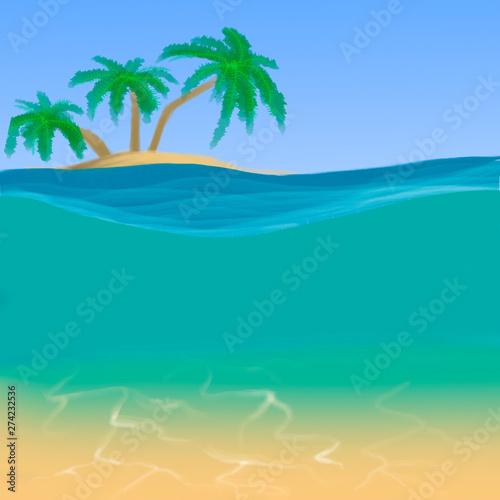 island with palms among the ocean