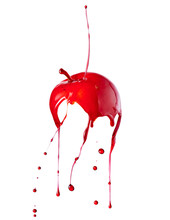 Candy Apple With Splashing Red Liquid