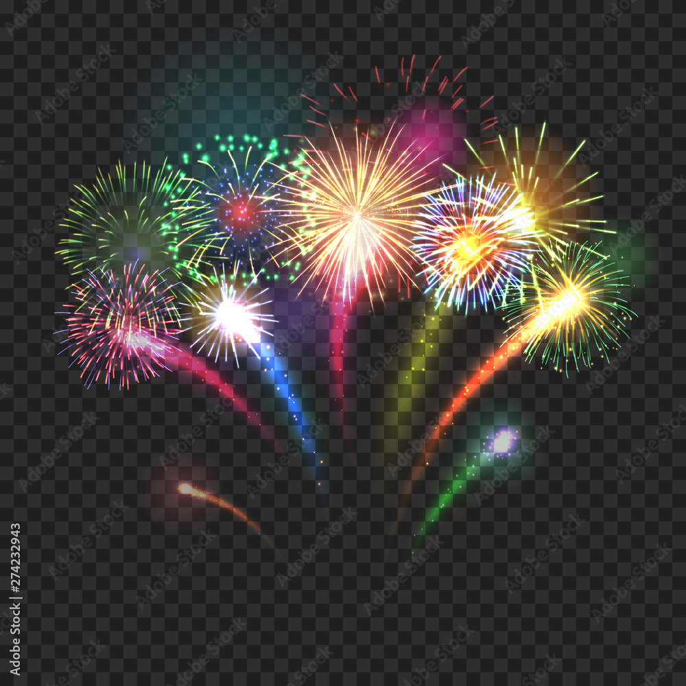 Fototapeta Bursting fireworks festive background with brightly shining sparks. Realistic fireworks explosions vector illustration on transparent background. Beautiful colorful light performance object.