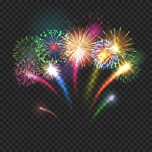 Bursting Fireworks Festive Bac...