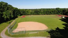 Aerial Rotate Right Over The Practice Ball Field, Running Track Is In The Background, Lancaster Mennonite School, Lancaster, Pennsylvania. Concept: Sports, Playing Fields, Exercise