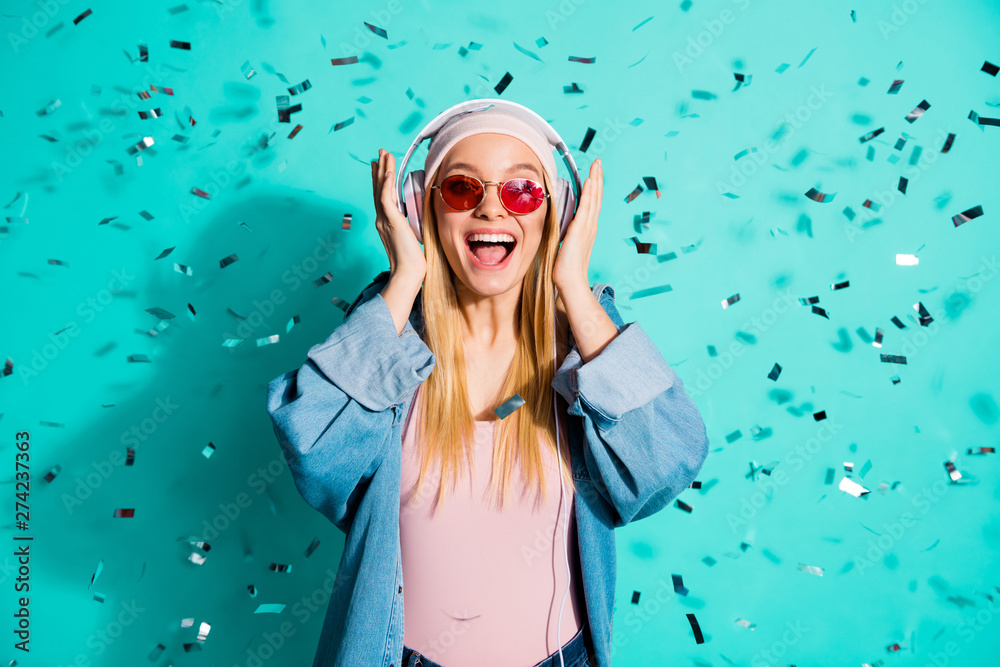 Fototapety, obrazy: Portrait of nice charming attractive cheerful glad excited girl wearing sun eyeglasses eyewear sound audio soul jazz pop hit cool song isolated on bright vivid shine blue green turquoise background