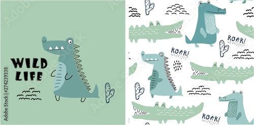set of cute crocodile print and seamless pattern with crocodiles.vector