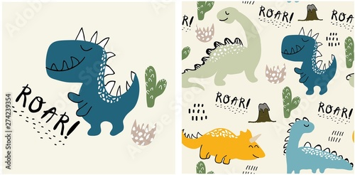 Fotografia set of cute dinosaur print and seamless pattern with dinosaurs