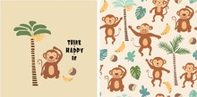 Set Of Monkey Print And Seamle...