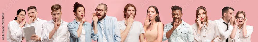 Fototapety, obrazy: Secret, gossip concept. Young men and women whispering a secret behind hands. Business people on trendy pink studio background. Human emotions, facial expression concept. Creative collage of 9 models.