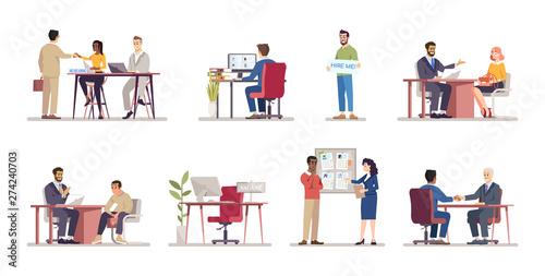 Fotomural Employment service flat vector illustrations set