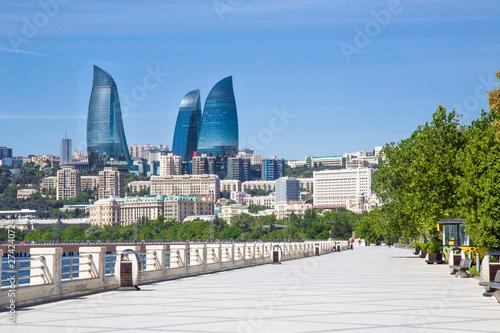 Baku Flame Towers is the tallest skyscraper in Baku, tourism in Azerbaijan Canvas Print