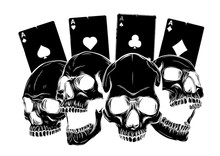 Aces Of Poker And Roses With Skull, Grunge Vintage Vector