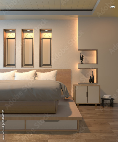Modern Zen Peaceful Bedroom Japan Style Bedroom With Shelf Wall Design Hidden Light And Decoration Japanese Style 3d Rendering Buy This Stock Photo And Explore Similar Images At Adobe Stock Adobe
