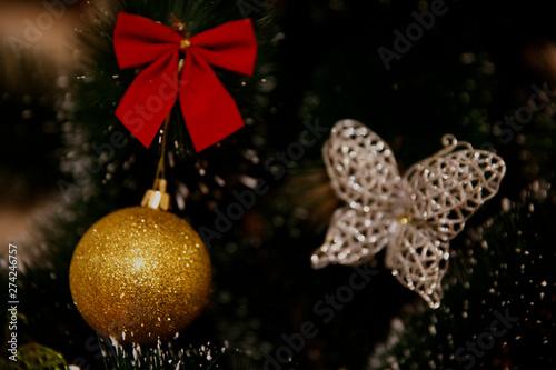 Fototapeta Christmas composition. Background with decorations. Copy space. Holiday concept. obraz na płótnie