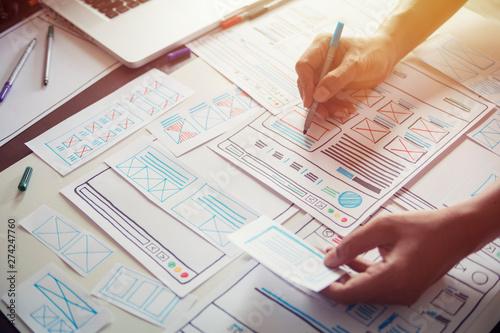 Photo  Website designer Creative planning application developer development draft sketch drawing template layout prototype framework wireframe design studio