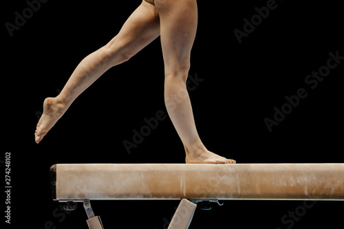 balance beam gymnastics legs female gymnast on black background Tapéta, Fotótapéta