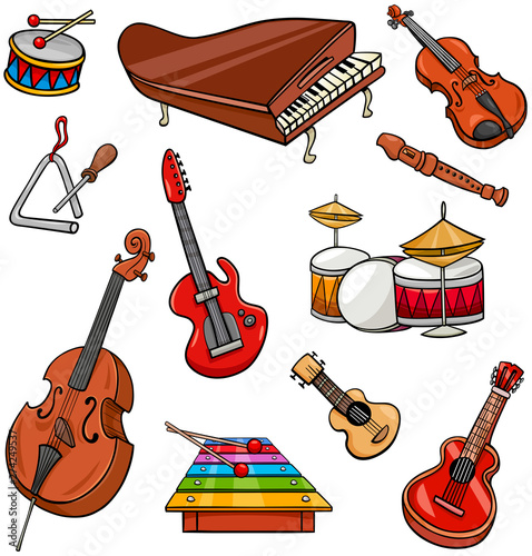 Obraz na plátně musical instruments cartoon illustration set