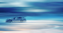 Sport Car Wheel Drifting. Motion Blurred Of Image Diffusion Race Drift Car With Lots Of Smoke From Burning Tires On Speed Track.