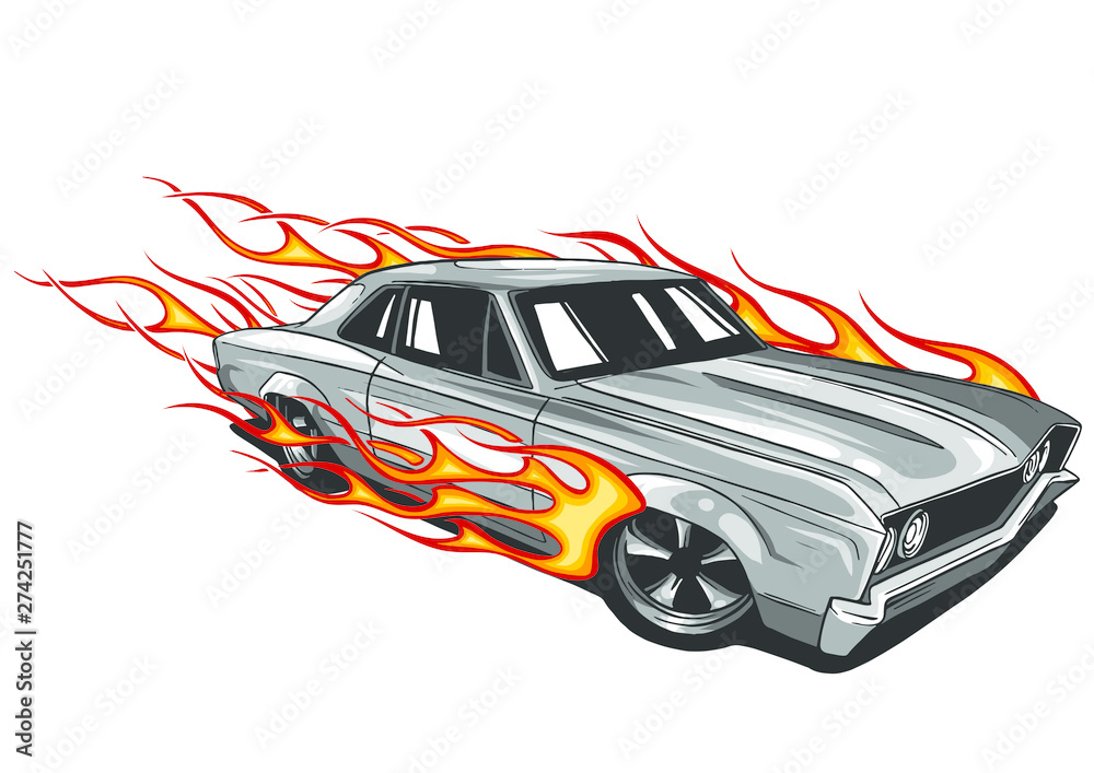 Fototapety, obrazy: vector muscle car with flames Crazy race