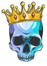 Illustration Of Skull In Crown With Beard Isolated On White Background