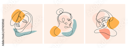 Obraz Modern abstract faces. Contemporary female silhouettes. Set of three hand drawn outline trendy vector illustrations. Continuous line, minimalistic concept. Pastel colors - fototapety do salonu