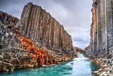 Fototapeta Kamienie - Studlagil basalt canyon, Iceland