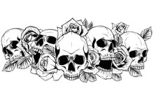 Skull With Centifolia Roses Tattoo By Hand Drawing.Tattoo Art Highly Detailed In Japanese Line Art Style.