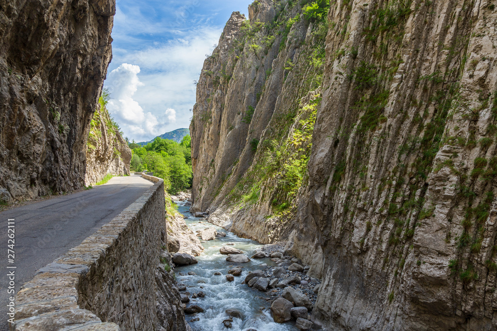 Fototapety, obrazy: Road in Clue de Barles. canyon  of Bes river near Digne les bains in Provence France