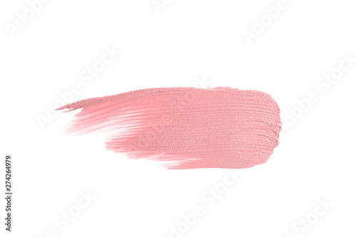 Obraz Lipstick smear isolated on white background. Makeup products - fototapety do salonu