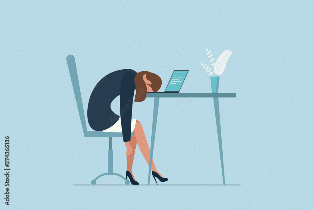 Fototapeta Professional burnout syndrome. Exhausted sick tired female manager in office sad boring sitting with head down on laptop. Vector long work day illustration