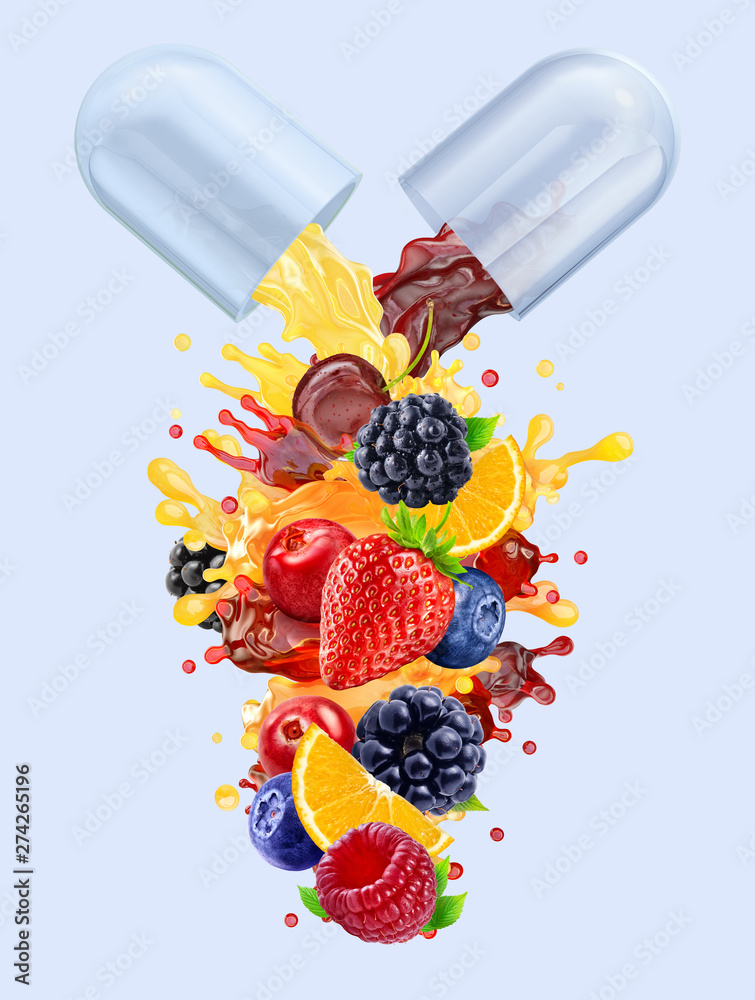 Fototapety, obrazy: Multi vitamins supplements minerals capsule pill with orange, blackberry, strawberry, raspberry, blueberry, cranberry juices blend 3D splash with fruits, berries complex. Natural medicine nutrient