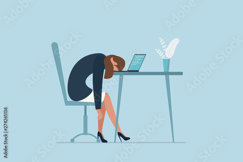Fototapeta Professional burnout syndrome. Exhausted sick tired female manager in office sad boring sitting with head down on laptop. Vector long work day illustration obraz