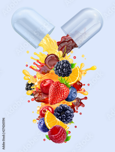 Multi vitamins supplements minerals capsule pill with orange, blackberry, strawberry, raspberry, blueberry, cranberry juices blend 3D splash with fruits, berries complex. Natural medicine nutrient Fototapete