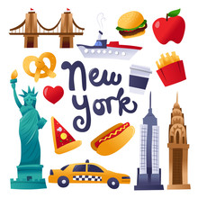 Super Cute New York Culture Icons Set
