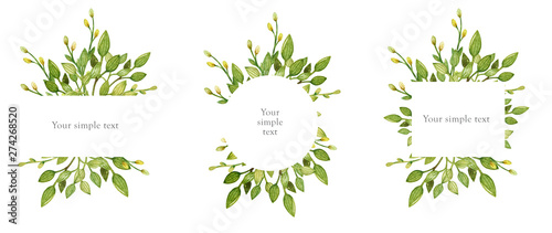 Hand drawn watercolor set of floral wreath isolated on a white background Fototapete