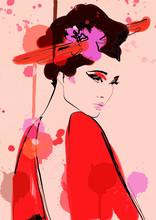 Geisha Woman In Kimono Paintin...