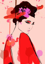Geisha Woman In Kimono Painting. Fashion Art