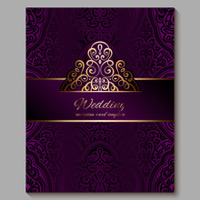 Wedding Invitation Card With Gold Shiny Eastern And Baroque Rich Foliage. Royal Purple Ornate Islamic Background For Your Design. Islam, Arabic, Indian, Dubai.
