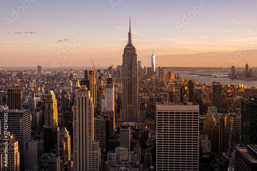 Fototapety, obrazy: Cityscape of midtown skyscrapers and buildingds at sunset view from rooftop Rockefeller Center
