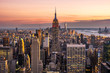 New York City midtown Manhattan skyline at sunset