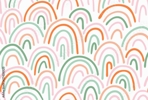 Türaufkleber Künstlich Vector Seamless Pattern multicolor Irregular hand drawn arched Lines. Abstract Background