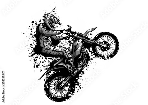 Cuadros en Lienzo motocross rider ride the motocross bike vector illustration