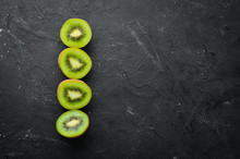 Fresh Kiwi On A Black Backgrou...