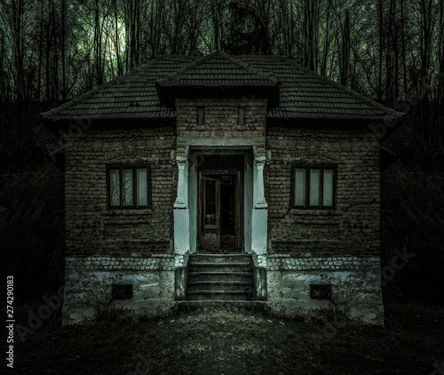 Leinwand Poster Old creepy haunted house with dark horror atmosphere and scary details