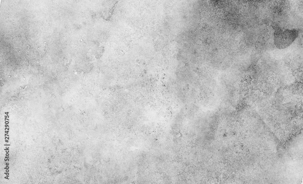 Fototapety, obrazy: Monochrome black and white ink effect water color illustration. Abstract grunge grey shades watercolor background. Smeared gray aquarelle painted paper textured canvas for design, vintage card