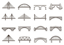 Bridges Line Icon Set, City Ar...