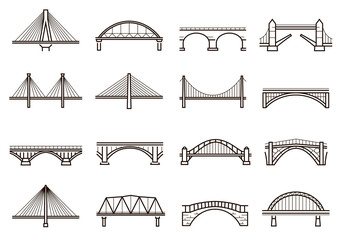 Postavljena ikona linije Mostovi, gradnja gradske arhitekture