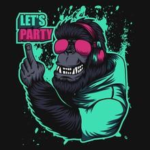 Gorilla Headphone Party Vector Illustration