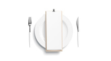 Blank White Cafe Menu Mock Up On Plate With Cutlery, Top View, Isolated, 3d Rendering. Clear Flyer On Wood With Food For Lunch Or Breakfast Mock Up. Empty Wine Map On Wooden Pad Template.