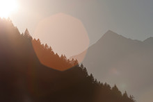 Swiss Mountainscape During Sunset.