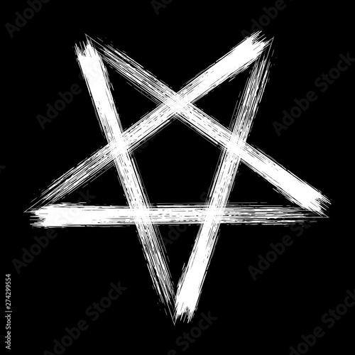 Photo Reversed pentagram occult symbol