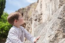 3 Years Old Child Boy Climbing Rock